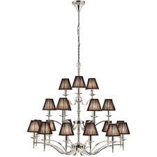 Avery Ceiling Pendant Chandelier Light–21 Lamp Bright Nickel & Black Pleat Shade