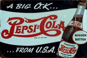 "Retro Blechschild Vintage Nostalgie look 20x30cm ""Pepsi"" neu"