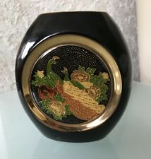 Bleu Cobalt Vase en porcelaine art de la CLOISONNE Paon détail doré-Japon