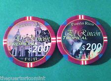 $200 EL RINCON TROPICAL Pool Room Private Casino Chip PUERTO RICO ficha Chipco