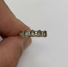 9ct Gold Green Amethyst And white Spinel Ring, 9k 10k 375