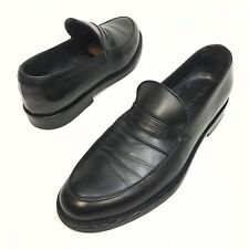 GIORGIO ARMANI Black Solid Leather Men's Penny Loafer Dress Shoes Size 7 Eu39.5