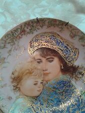 gold accent Edna Hibel Mother's Day Collector's Plate 1987 Catherine and Heather