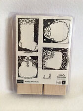 NEW Stampin Up Holiday Woodcuts Set Unmounted 2003 Xmas Tag Rubber Stamps