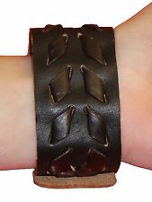 Bulk Lotx32 Adult Brown Leather Woven Design Adjustable Snap Wristband Bracelet