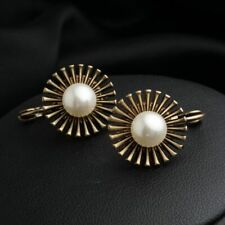 Retro Cubic Pearl Zircon Gold Plated Lady Hoop Drop Earrings Occasion Jewelry