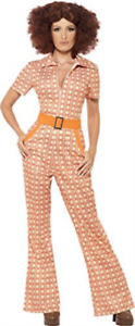 Authentic 70s Chic Costume, Orange, with Jumpsuit -  (Size: UK Dres.. COST-W NEW