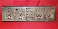 "30"" Antique Rare Solid Wooden Saraswati Floral Wall Panel Window Vintage Plaque"