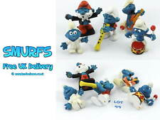 SMURFS Set of 5 Peyo Figures musical- guitar, conductor, jumpsuit, flute, drum