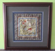 Vintage Chinese Silk Embroidery/Textile Floral~Butterfly~ Framed