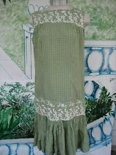 Green Checked Dress with Embroidery