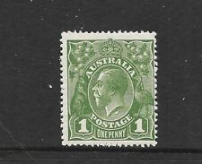 STAMPS AUST  KGV 1d GREEN NO WMK  MUH   NECK FLAW