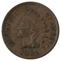 1904 1c Indian Head Cent Penny US Coin F Fine