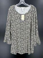Carmen Marc Valvo Womens Leopard Print Bell Sleeve Tunic Plus Size 2X NWT