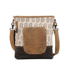 Tango Print Canvas & Leather Shoulder Bag Front+Back Pockets-Black/Brown 14x12.5