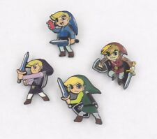 4 Legend of Zelda Four Sword Link Pin Badge Set ~Brand New~