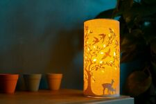 Welink Light Glow Deer & Birds Fabric Electric Table Bedside Lamp
