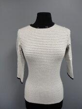 CLASSIQUES ENTIER White Black Geo Print Beaded Collar Crewneck Sweater XS EE6641