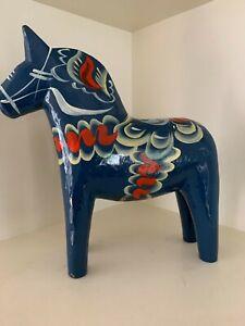 Large Sized Blue Dala Horse 26 cm High Swedish Horse Vintage Wooden Horse