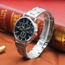 Herren Edelstahl Armbanduhr Noodles Rund Analoguhr Quarz Blau Glow Glass Watch
