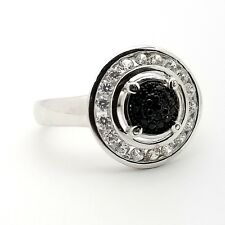 PJC 925 Sterling Silver Round Black Spinel White Topaz Double Eye Ring Size 7