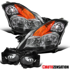 For 07-09 Nissan Altima 4DR Black Headlights+Clear Fog Lamps LH+RH
