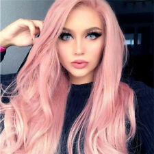 Synthetic Long Wavy Curly Wig Full Pink Wigs Heat Resistant Party Cosplay Wigs