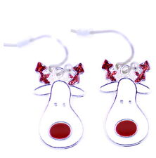 Cute Christmas Rudolph the red nosed reaindeer. Festive earrings. Xmas ornament
