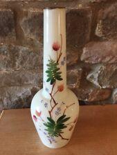 Pretty Antique Victorian Bohemian Handpainted Enamelled Bottle Vase