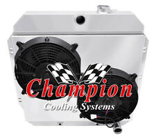"""2 Row BC Champion Radiator W/ 2 12"""" Fans and Shroud for 1960 61 1962 Chevy Truck"""