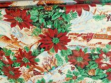 Christmas Farm Vinyl Front Flannel Back Vintage Tablecloth