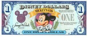 1993 Mickey's 65 Birthday Very Scarce **No Serial # Disney Dollar Mint Condition