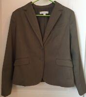 New York And Company Blazer Brown Tan 12 Petite 12P Large Pinstripe Suit Jacket