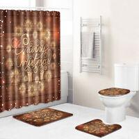 Merry Christmas Shower Curtain Bathroom Rug Bath Mat Non-Slip Toilet Lid Cover