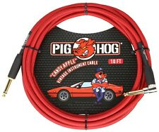 Pig Hog Candy Apple Red 10' Guitar Instrument Cable Rt Angle Connector