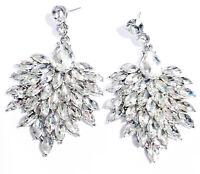 Clear Chandelier Earrings Rhinestone Crystal 2.6 inch