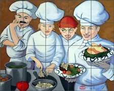 Chef Tile Backsplash Jann Harrison Kitchen Art Ceramic Mural JHA021