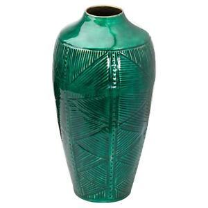 Aztec Emerald and Brass Ceramic Dipped Urn Vase