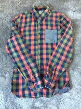 Next Blue/ Green/ Coral Denim Checked Shirt XS