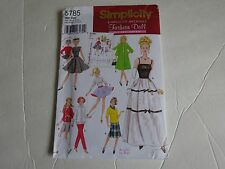 "New Simplicity pattern  5785 RETRO DOLL CLOTHES 11-1/2"" BARBIE DOLL Wardrobe"
