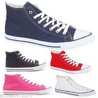 Boys Girls canvas Pumps lace up Hi Tops plimsole shoes Trainers  Unisex