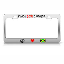 PEACE LOVE JAMAICA License Plate Frame Metal Chrome JAMAICAN FLAG Tag Border