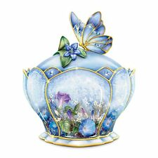 LENA LIU Whispering Wings Porcelain Jeweled MUSIC BOX with Butterfly Handle NEW
