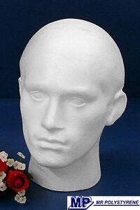 2 POLYSTYRENE MALE MANNEQUIN DISPLAY HEADS BRAND NEW