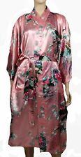 Elegant Handmade Peacock Design Silk Satin Long Kimono Robe w/ Waist Tie, Pink
