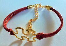 Ante de imitación Pulsera Roja Con Oro Antiguo Autismo pieza del rompecabezas