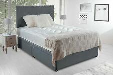 Серая замша кровать комплект диван с стеганым ортопедический матрас и изголовье