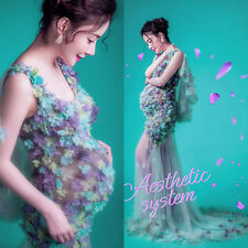 Maternity Photo Shoot Gown Long Lace  Flower Dress Maternity Photography Props