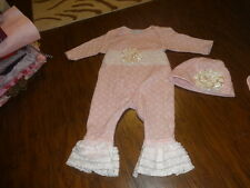 BOUTIQUE CACHCACH CACH CACH 6M 6 MONTHS PINK POLKA DOT OUTFIT AND HAT SET