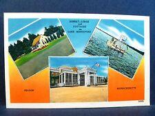 Postcard MA Sharon Sunset Lodge & Cottages on Lake Massapoag